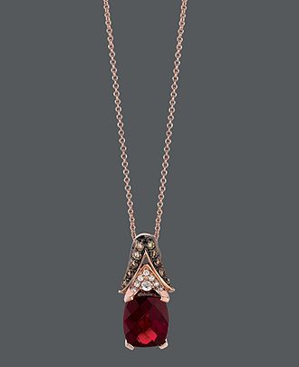 Le Vian 14k Rose Gold Necklace, Garnet, Chocolate Diamond and White Diamond Oval Pendant