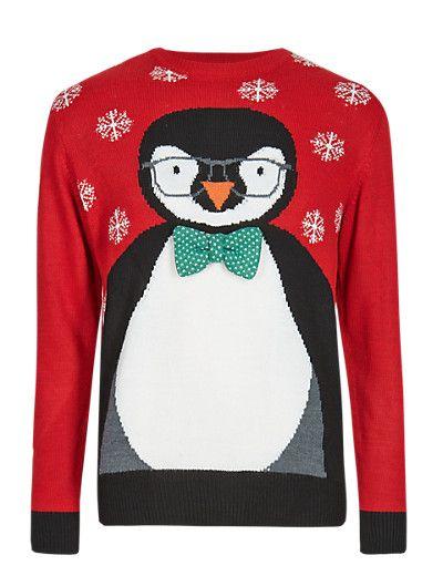 Christmas Penguin Jumper   M&S