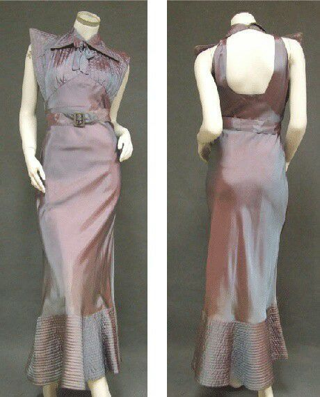 Iridescent silk taffeta gown with softly quilted hem, shoulders & collar, plus the surprise of an open back, 1930s-Hollywood design