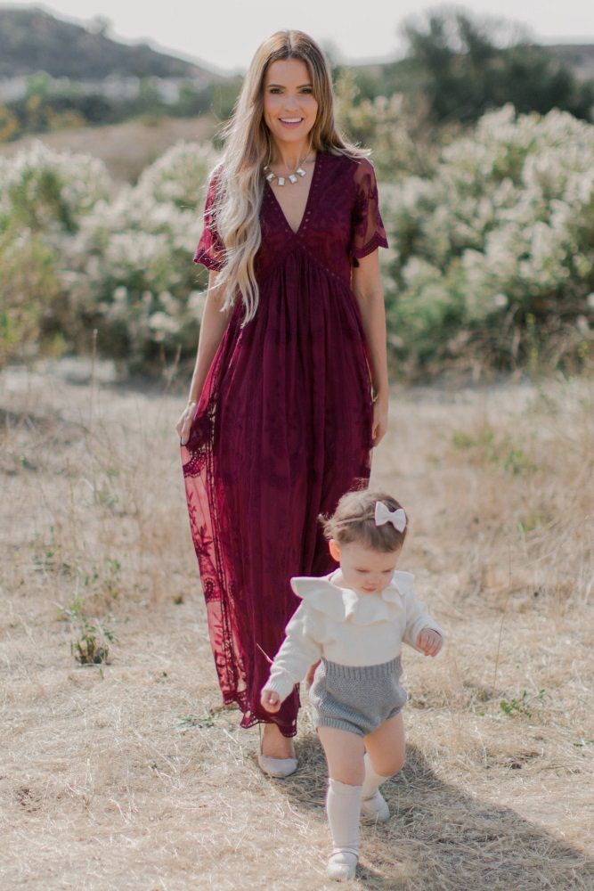 af175b60341fa Burgundy Lace Mesh Overlay Maxi Dress | Bridesmaids | Lace burgundy ...