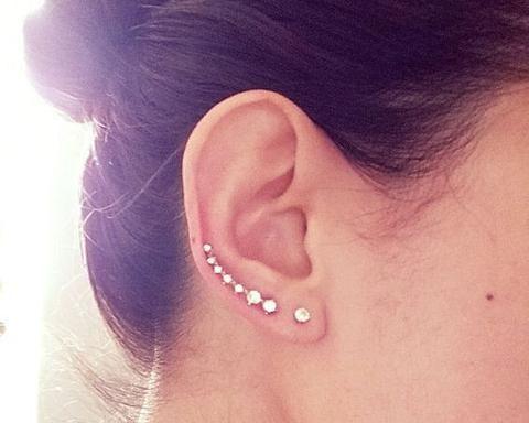 Product Information - Product Type: 1 Pair of Ear Climbers - Gauge Size: Standard Ear Lobe - 20 Gauge (1.2mm) Womens Earrings Earring Jacket Jackets in Gold Silver Bella Crystal Drop