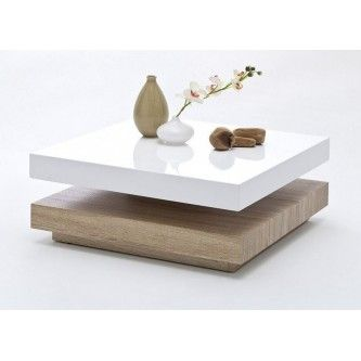 Table basse carr e pivotante laqu blanc bois margo mobilier de la maison - Table basse pivotante ...