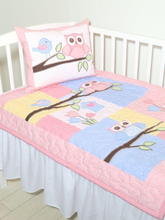Manta del bebé, manta edredón de buho, lecho del bebé, decoración cuarto de niños de buho