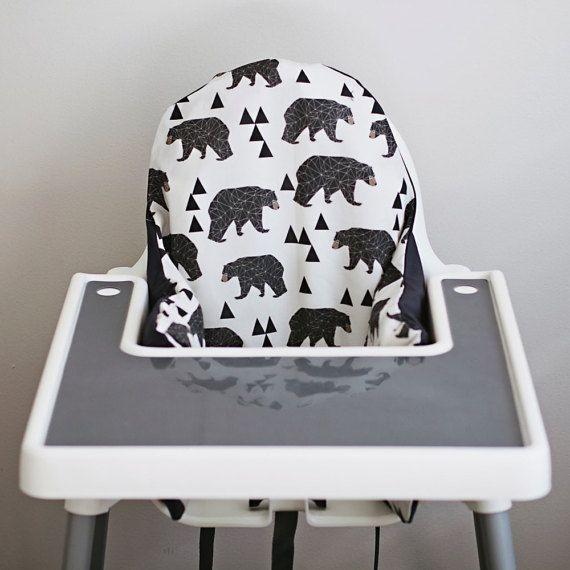 IKEA Antilop Highchair Cover // Geometric Bear // High Chair Cover for the PYTTIG Cushion // Pillow Slipcover