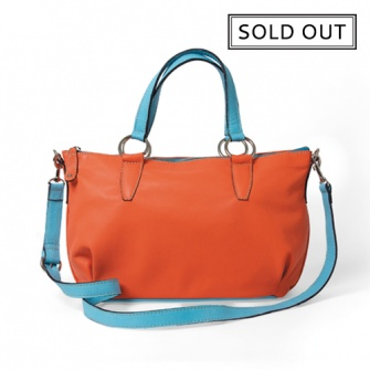 IT PARIS: Coral and blue leather shoulder and handbag