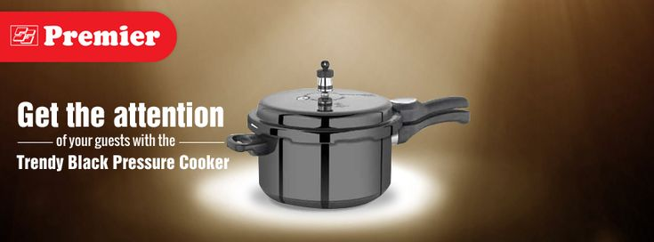 Get the attention of your guests with trendy black pressure cooker.