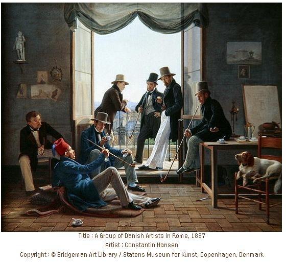 <로마의 덴마크 예술가들>, 콘스탄틴 한센 ,  1837  작품의 배경은 로마이다.  예술가로 짐작되는 신사들이 모여 담배를 피며 커피를 마시고 있다. 커피잔의 크기가 한 손에 들어올 만큼 작은 것을 보아 아마 에스프레소를 마시고 있는 것이 아닌가 하는 생각을 해본다. 식사 후 느긋하게 커피를 마시며 담소를 나누는 인물들의 기분을 잘 담아냈다.