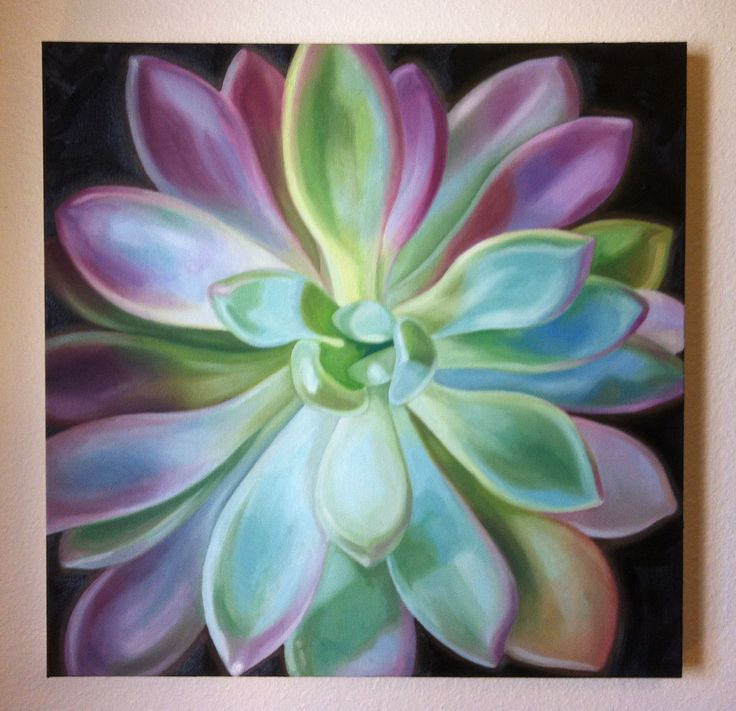 Such a pretty oil painting - pale green and pink succulent.