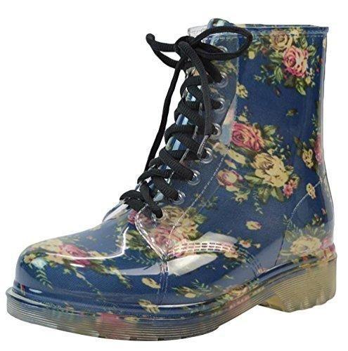 Oferta: 21.79€. Comprar Ofertas de LvRao Mujer Boots Impermeable con Cordones de Zapatos Booties Corto de Lluvia Nieve Botas Casual de Jardín Azul Tamaño Europe barato. ¡Mira las ofertas!
