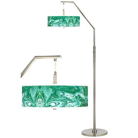 Malachite giclee shade arc floor lamp style h5361 1y523