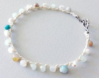 beaded crochet bracelet - chalcedony, jasper, moonstone