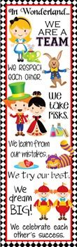 Character Education Banner - In Wonderland ...Decorate your classroom with this colorful ALICE in WONDERLAND banner. This purchase includes one JPEG image which you can upload and print on a vinyl banner. Character Education Banners serve as constant visual reminders to students the importance of having good character.