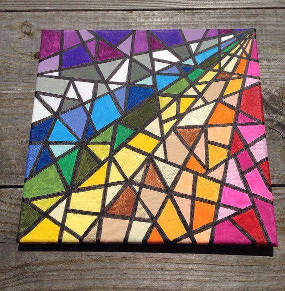 Hallo! Dit is een acryl schilderij dat ik maakte, geïnspireerd door mozaïek gebrandschilderd glas. Ik ben dol op het schilderen van kleurrijke stukken en ik denk dat het gebruik van vormen in mozaïeken is leuk! Dit wordt gedaan op een doek 12 x 12 en kan worden opgehangen ingelijst of niet. Ik heb geschilderd rond de randen door elke sectie van kleur rond de zijkanten te blijven. Op deze manier de randen zijn geschilderd als u ervoor kiest niet om het frame. Laat het me weten als u vragen…