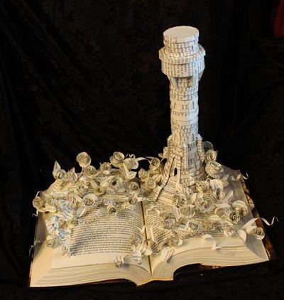"""The Dark Tower"" book sculpture (artist: Jodi Harvey-Brown)"