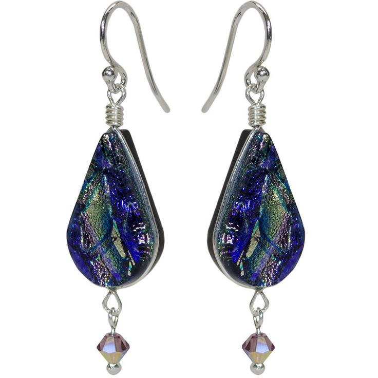 Secret Falls Nickel Free Earrings - Secret Falls Earrings, named for a spectacular but little known waterfall, have lovely lilac and purple dichroic glass fashioned into lotus-shaped dangles then accented with matching crystals which add even more sparkle. #nonickel #nickelfree #athenaallergy