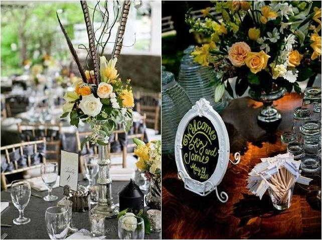 Using these real animal feathers is more cost effective than ostrich feathers and look equally good next to the yellow flowers. Putting it round a candelabra or large candle stick for a 1920's theme