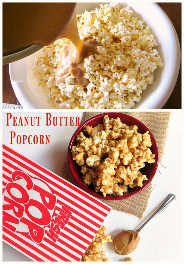 Yummy Peanut Butter Popcorn--Easy, fun and delicious snack or dessert!
