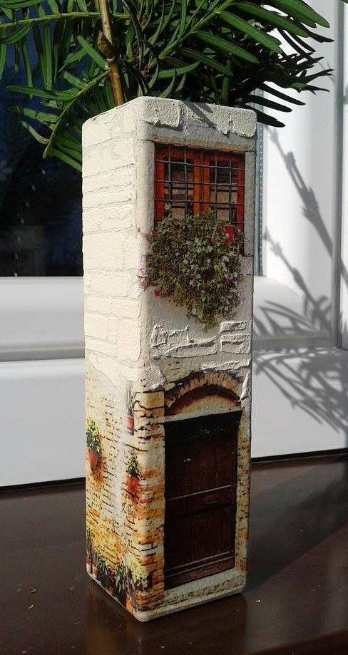 hand made, decoupage, vase, wazon, house