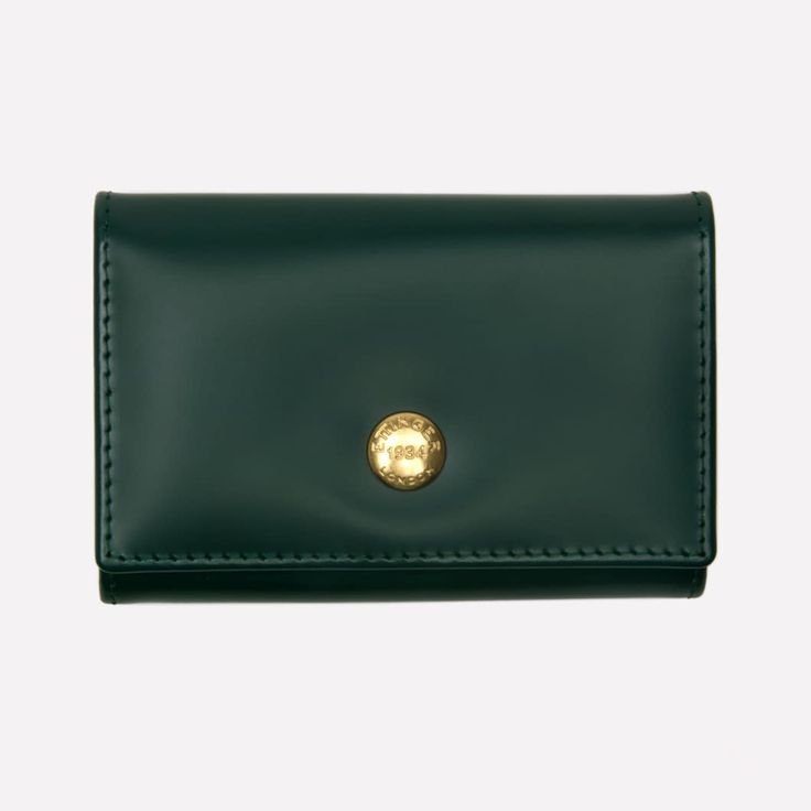 Ettinger London - Luxury Leather Goods - Bridle Hide Coin Purse with Card Pocket in Green
