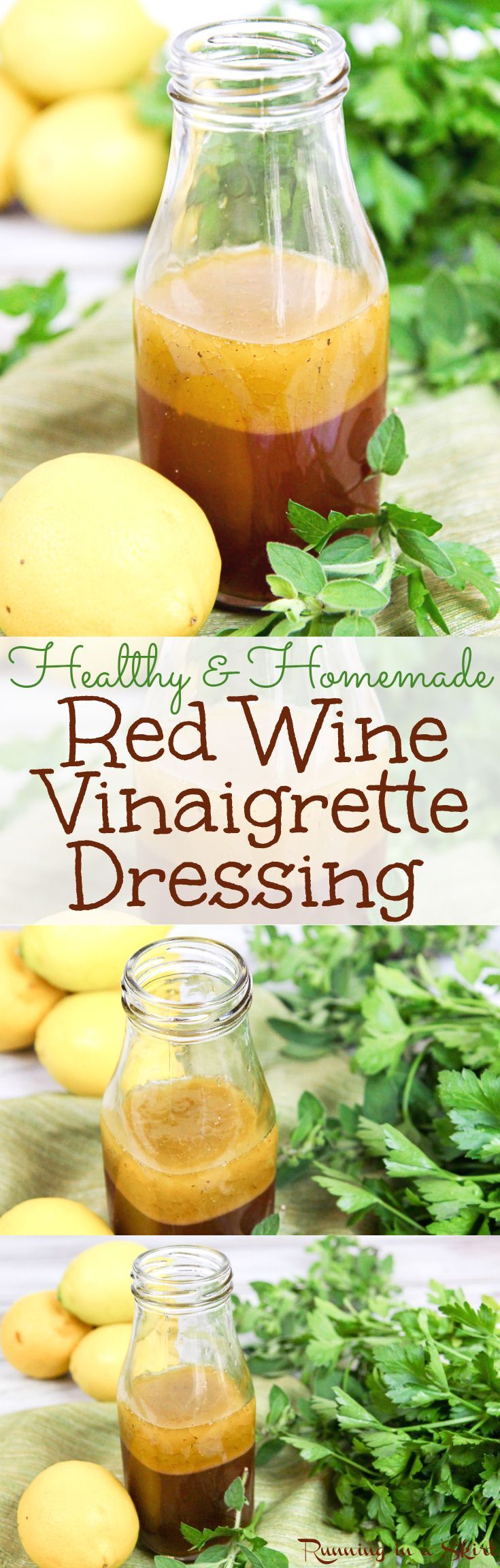 The Best Healthy Homemade Red Wine Vinaigrette dressing recipe. A simple, no sugar salad dressing recipe. Easy, simple, gluten free and clean eating. Perfect for all kinds of fresh salads! / Running in a Skirt