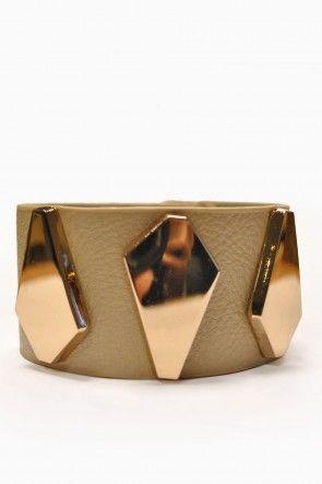 Jordan Gold Leather Look Cuff