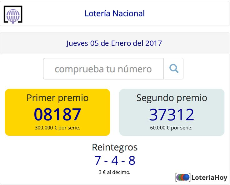 Resultados y comprobación de tu #décimo para el sorteo de #LoteríaNacional del #Jueves 05 de #Enero de 2017 #Lotería
