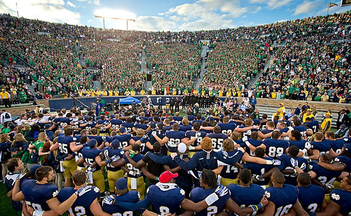 Notre Dame team and students singing the Alma Mater after the MSU game.