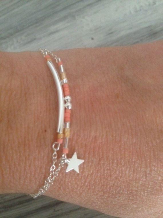 Bracelet fin duo en argent perles et étoile minimaliste - Les caprices de melina - valenteens