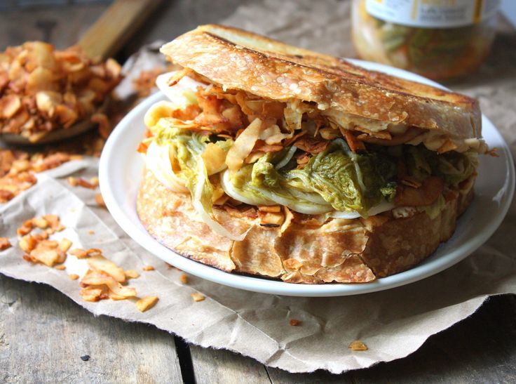 Kimchi & Coconut Bacon Grilled Cheese! Melty, crunchy, salty, gooey and a great way to add probiotics to your lunch! (vegan + GF)