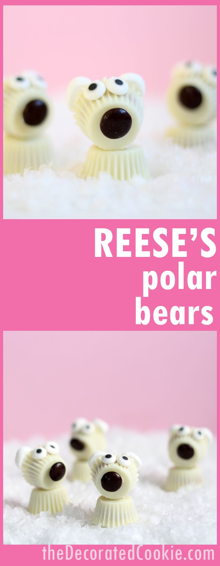 Reese's Peanut Butter Cups polar bears! Cute, fun Winter or Christmas treat. Winter animals fun food ideas.