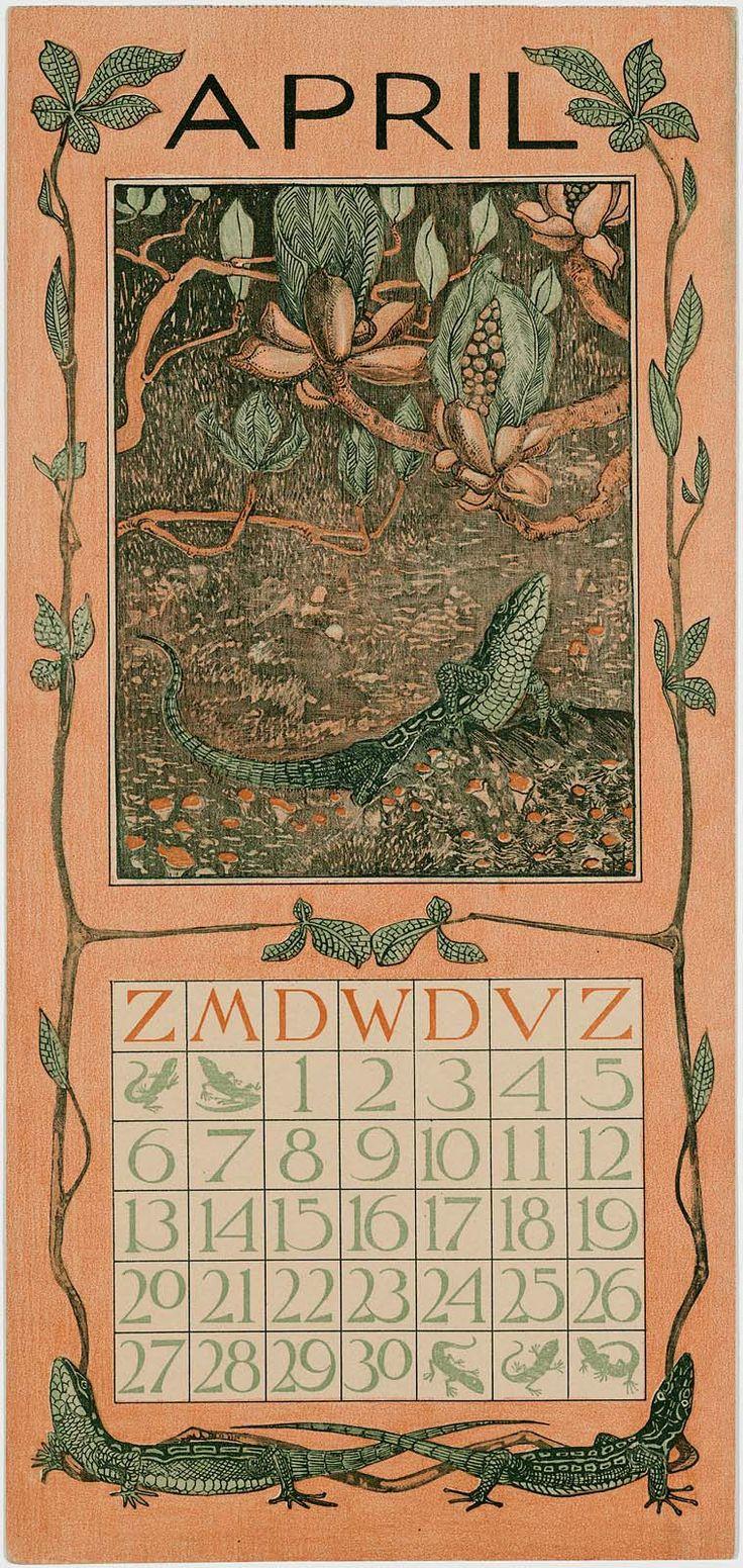 Lizard Under Chestnut Buds (1902 Calendar: April)  1902  Theodorus van Hoytema, Dutch, 1863–1917 Dutch