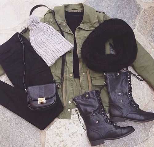Winter (layering) Outfit -army jacket -black t-shirt -black jeans -grey beanie -black scarf -black combat boots -crossbody purse