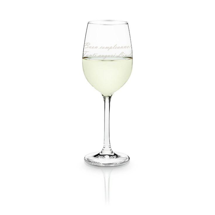 Bicchiere da vino bianco personalizzabile in vari modelli.