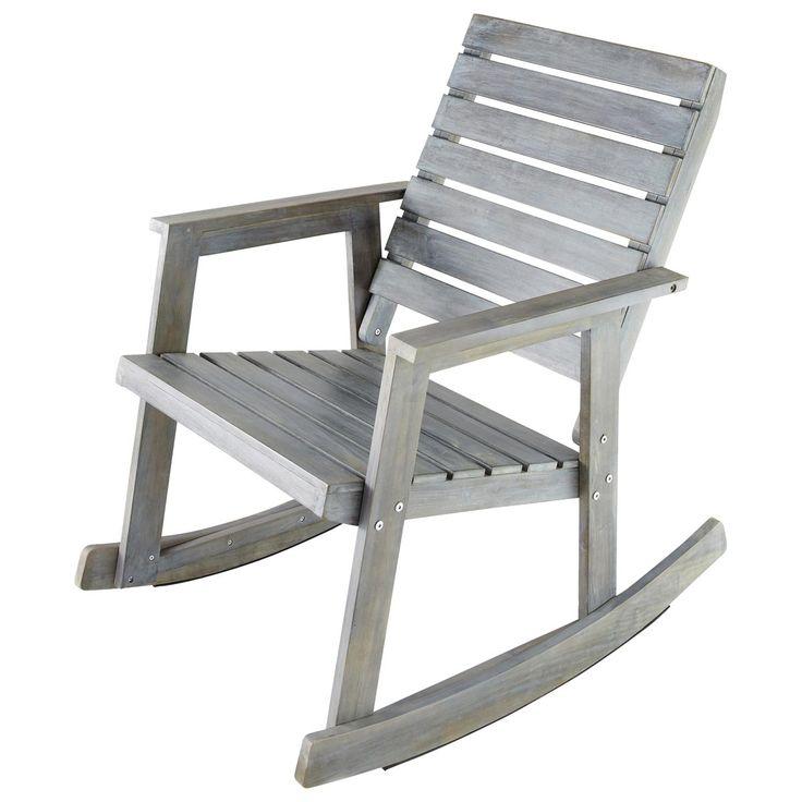 Excellent fauteuil bascule de jardin en acacia gris for Maison du monde site officiel