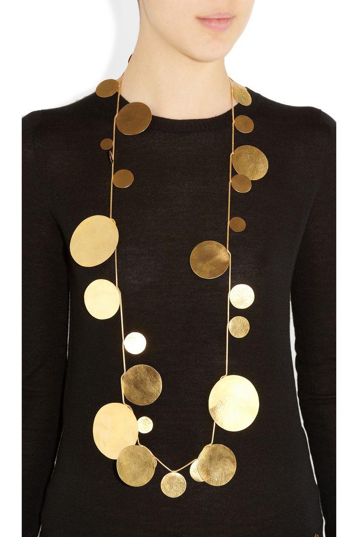 Hervé Van Der Straeten|24-karat gold-plated disc necklace|NET-A-PORTER.COM
