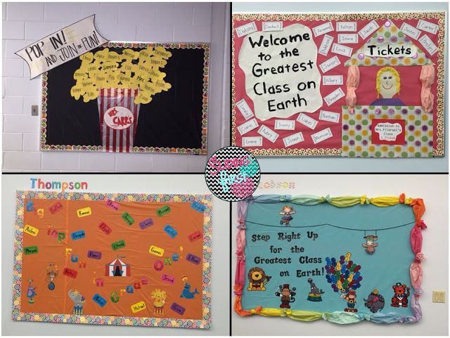 Sliding into first classroom tour 2015 circus theme for Bulletin board organization