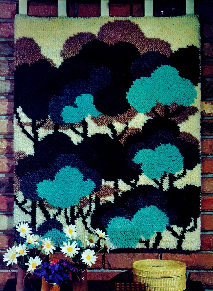 Deep-In-The-Woods Latch Hook Rug Wall Hanging Retro Vintage PDF Latch Hook Pattern by MomentsInTwine on Etsy