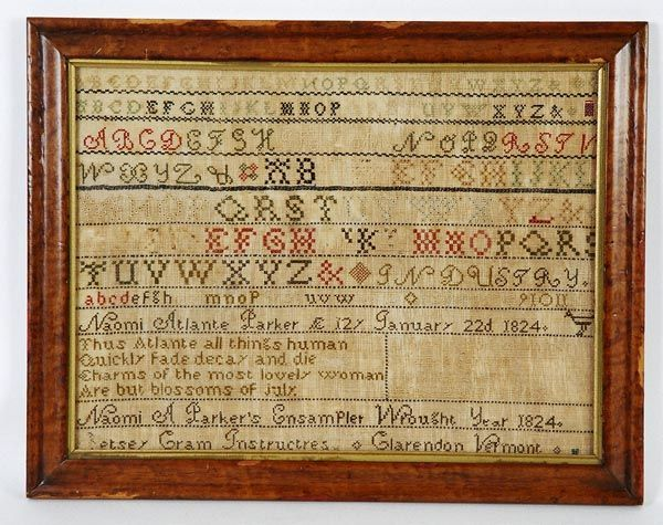 Rare Early 19th C American Clarendon, Vermont 1824 Naomi A. Parker Sampler