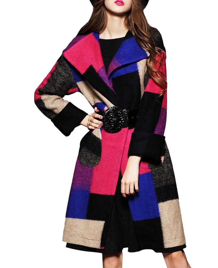 Colorblock Patch-pockets Md-long Checked Woolen Coat | BlackFive