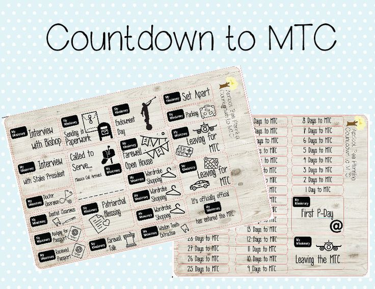 LDS Missionary Countdown Sticker Set for your planner, journal or calendar by apricottreeplanning on Etsy