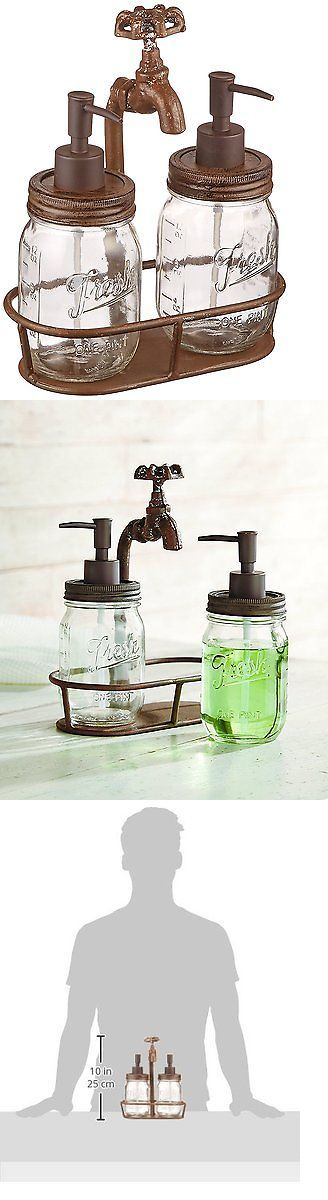 Soap Dishes and Dispensers 25451: Bathroom Soup Pump Rustic Cast Jars Mud Pie Water Spouts Set Three Piece New -> BUY IT NOW ONLY: $41.82 on eBay!