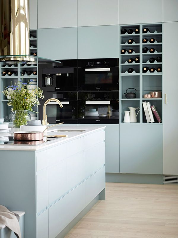 Pastel blue with black  Miele appliances