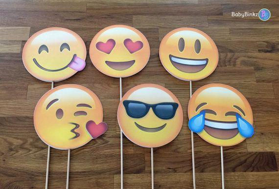 Photo Props: The Emoji Set (6 Pieces) - party wedding birthday facebook twitter instagram social media iPhone app icon stick centerpiece