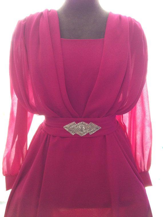 Vintage 80s hot pink/fuchsia chiffon dress