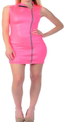 Pink Zip Up Quilt Dress