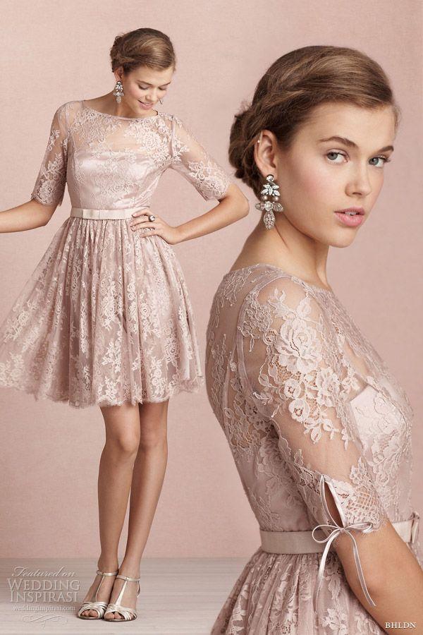 Nude bhldn bridal 2013 tea rose short lace wedding dress sleeves