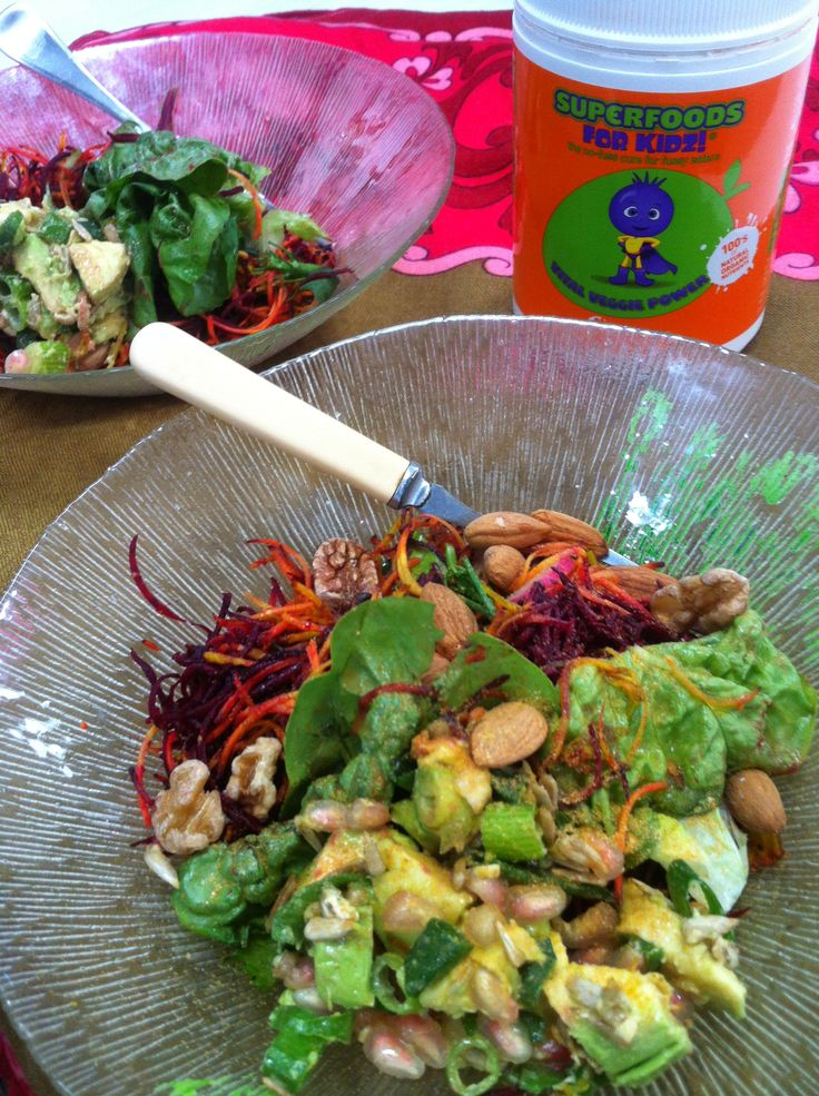 A sprinkle of superfoods for kids Vital Vegie powder on salad gives a great nutritional boost