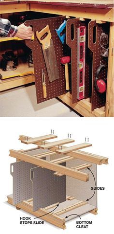 Short on wall space?  Here you go. Neat pegboard slides store quickly under your workbench.
