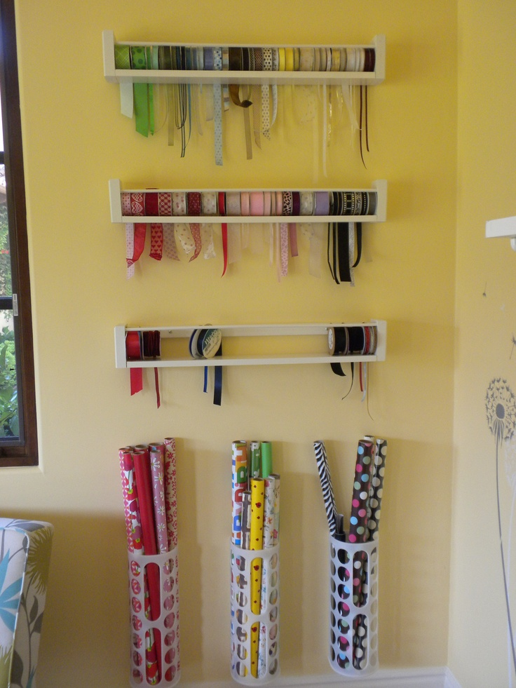 Ribbon holders (follow link for tutorial to make them) gift wrap holders (purchased as recycling bag holders from IKEA)