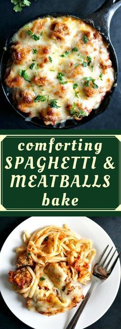comforting spaghetti and meatballs bake | pasta | easy recipes | dinner | comfort food | carbs